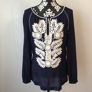 "Tory Burch ""Kinsly"" Embroidered Top Size Small"